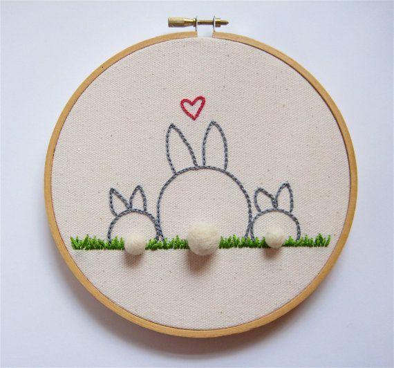 Madre e bambino Bunny Rabbit ricamo cerchio arte - ritratto di famiglia - festa della mamma regalo