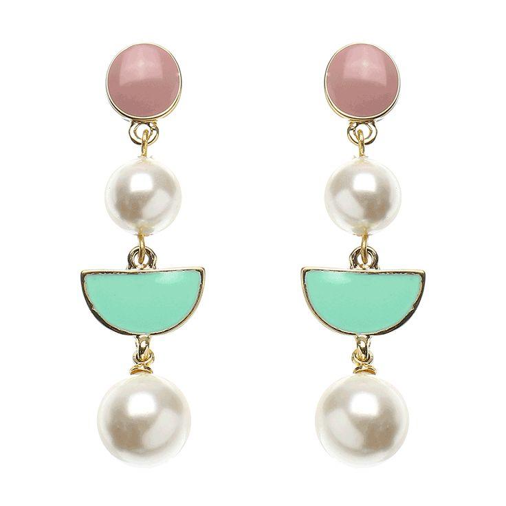 JASSY® Sweet 18K Gold Plated Pearl Earrings Cute Candy Color Geometric Ear Drop Jewelry Gift