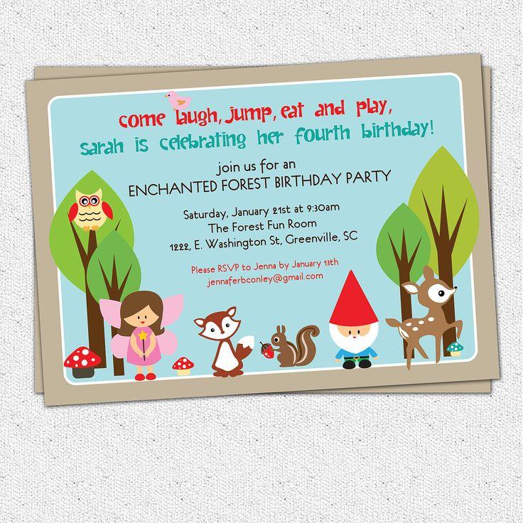 printable woodland birthday invitation enchanted forest fairy gnome deer owl squirrel girl diy digital file