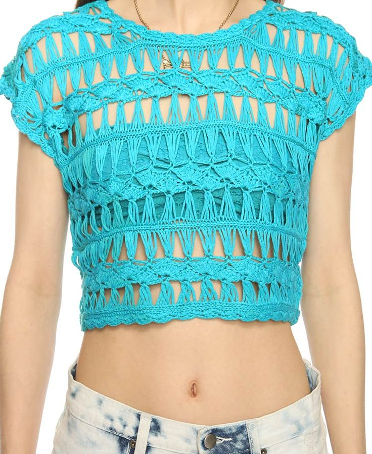 Cropped Broomstick Lace and/or hairpin lace Sweater