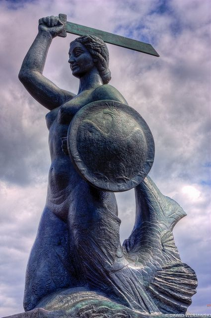 Legend of Warsaw's Mermaid, beautiful creature singing for Vistula's River fishermen. Half-fish, half- women captured by an evil merchant, set free by a young fisherman's son. Greatful and free promised to defend them and the village- Warsaw.
