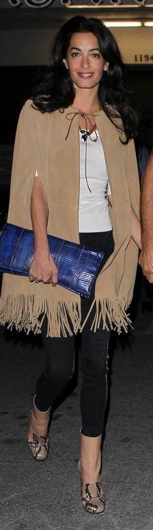 Amal Clooney',tan fringe cape