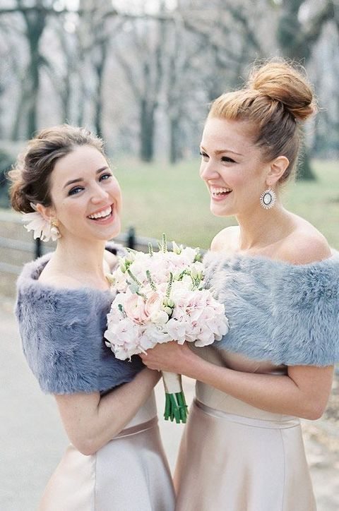 42 Fabulous Winter Bridesmaids' Dresses And Wraps   HappyWedd.com