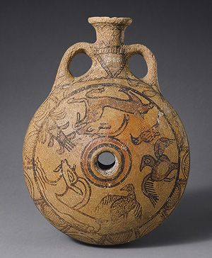 Images of goats, birds, trees, and other plants decorate both sides of this lentoid flask. The origin of this lentoid flask has been the subject of much discussion. The vessel's fabric, burnishing technique, and the paint in two distinct colors—black and red—have strong parallels in Levantine pottery of the eleventh c. BC It is probably one of the earliest Phoenician vases imported into Cyprus.