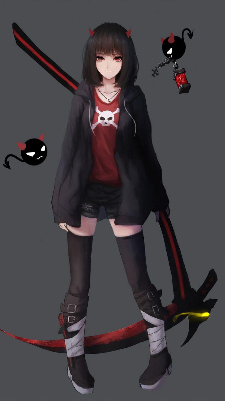 Minimal, anime girl, red eyes, 720x1280 wallpaper