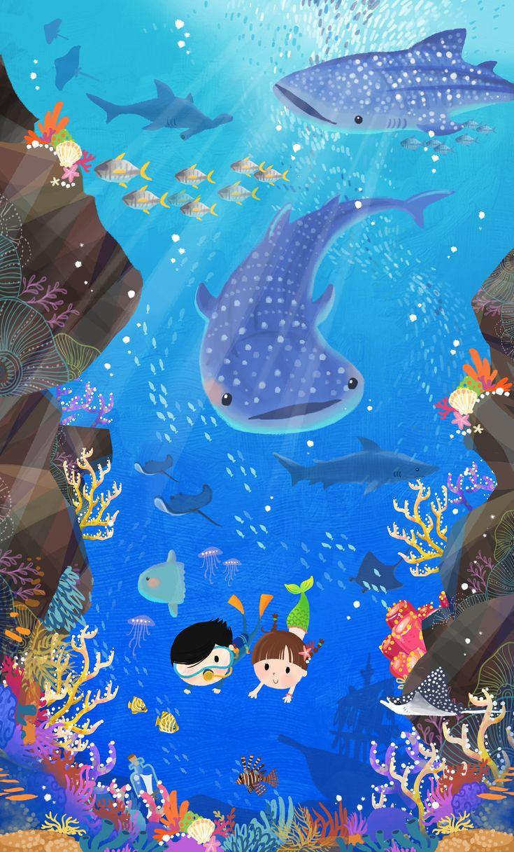 Beautiful Sea World by Lon Lee www.lonlee.co.uk #whaleshark #mermaid #diving #travelillustration #travel #littlelon