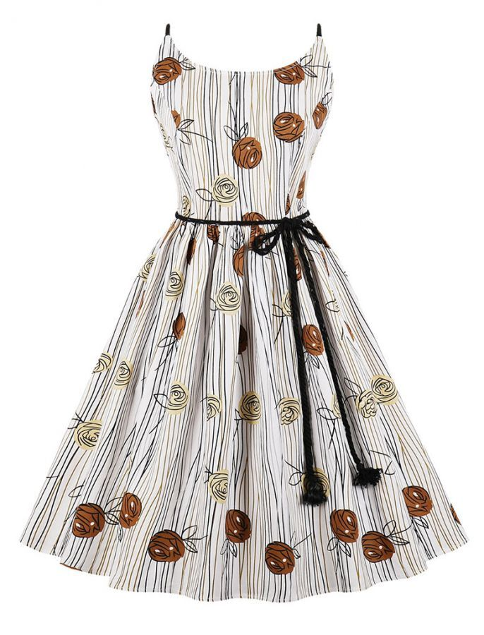 255de480ca Retro Rose Print Striped Cute Dress