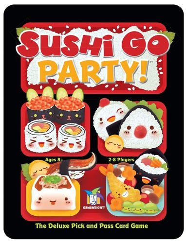 SUSHI GO PARTY: It's that same great game, turned on its side. Supports 2-8 players, a pick-and-pass/drafting game, with ever-changing rules. You can customize the level of challenge to however you like.