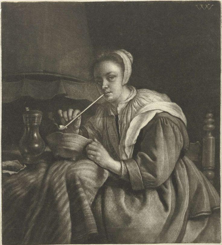 Pijprokende vrouw, Wallerant Vaillant, 1658 - 1677