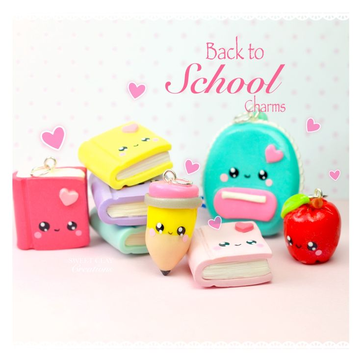 Back to School Kawaii Charm Notebook Apple Pencil Backpack Polymer Clay Handmade Jewelry by Sweet Clay Creations