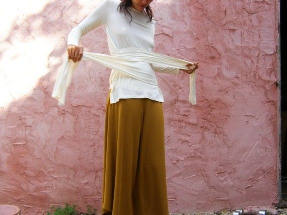 White womens wrap top Long sleeves shirtThe Woman by SHIHAR, $89.00