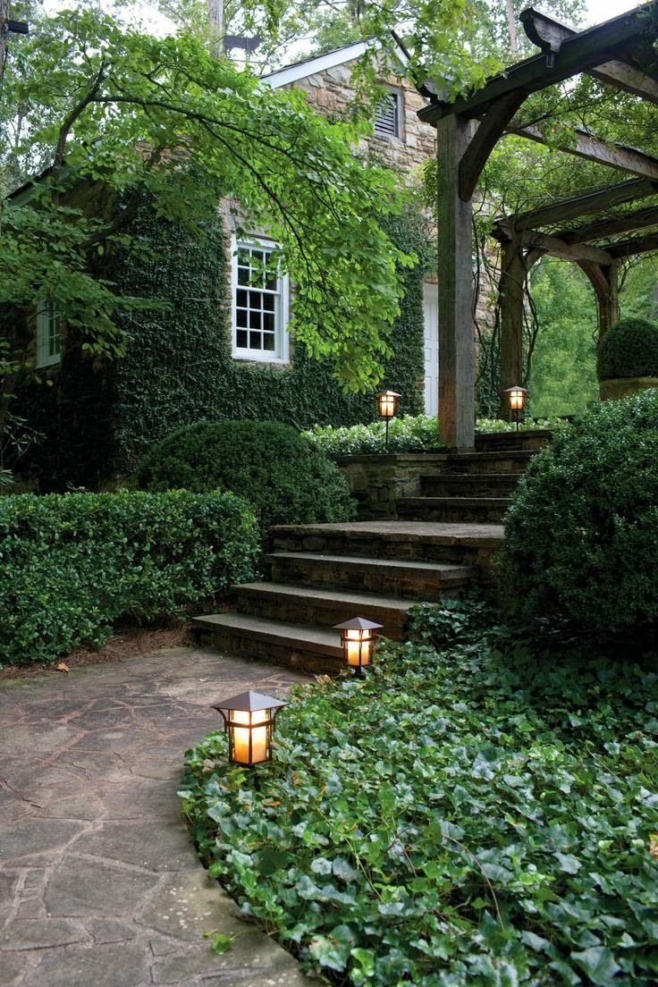 Lovely garden path & lighting! Shop pathlights here: http://smartlivinghg.com/Outdoor-Utility-Lighting/