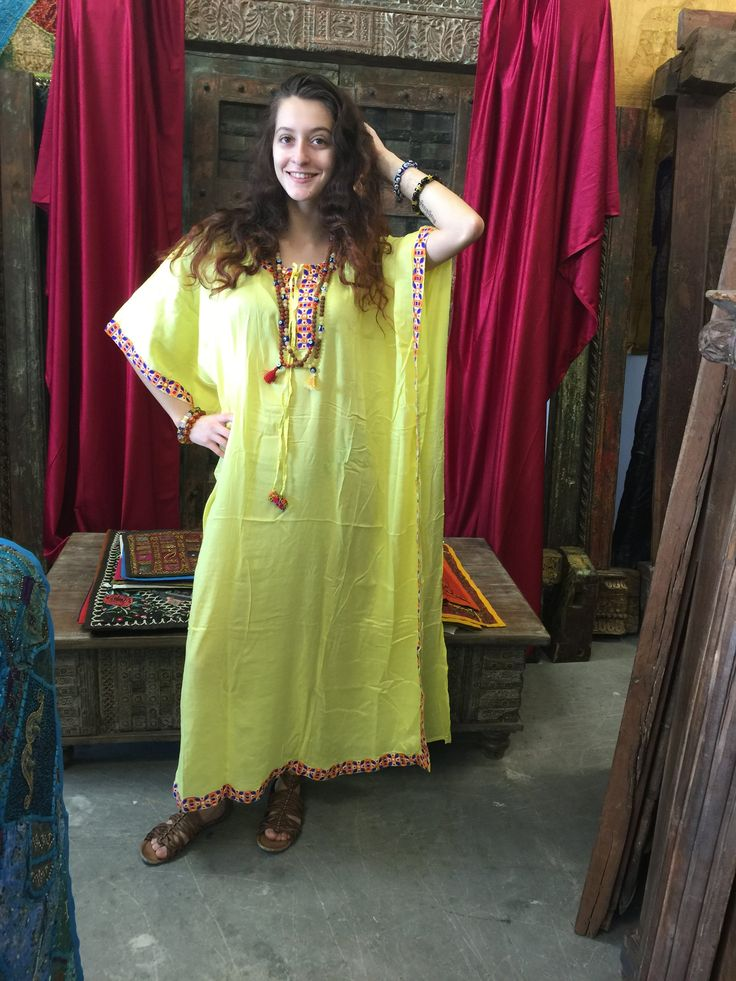 Round Neckline with Multicolour Faux Mirror Embroidered Kaftans . Feel marvelous especially when you dress-up for beach. Search yourself free & fully comfortable. Womens Ladies Resort wear, Pool , Vacation Tropical , Aloha , Caribbean, Festival , Tunic, One size Dresses,Designer Caftan, Plus Size Caftan, Kashmir Embroidered, Housedress