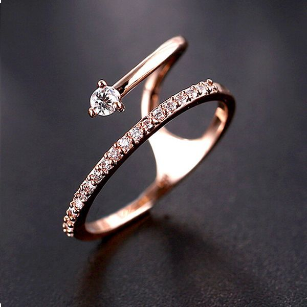 2015 Summer New Special Rose Gold Zirconia Cocktail Ring