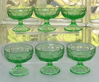 Six 30's Green Depression Glass Sherbets.  I have these.