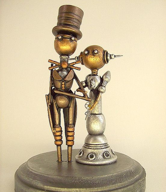 Robot Couple Wedding Cake Topper. Would be cute for steampunk, futuristic or geek wedding theme!