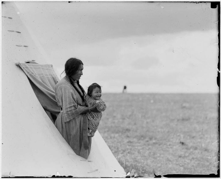 mother and child in tipi, Walter McClintock - circa 1909.