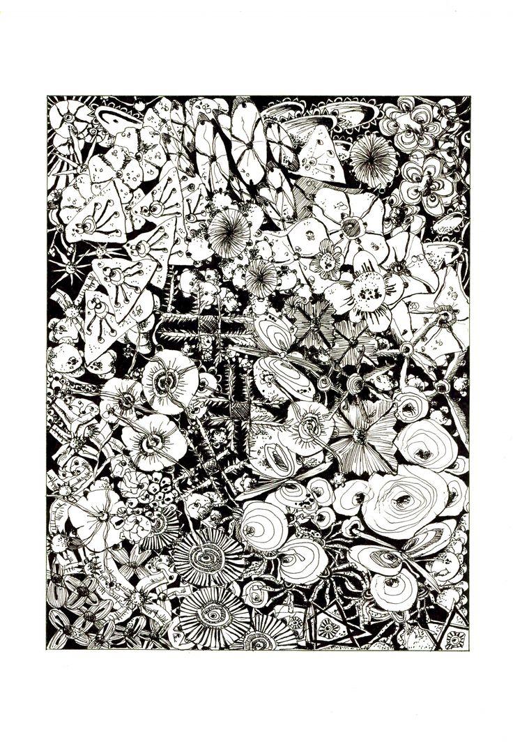 Florescencia por Gerardo Arango B. Tinta china sobre papel.