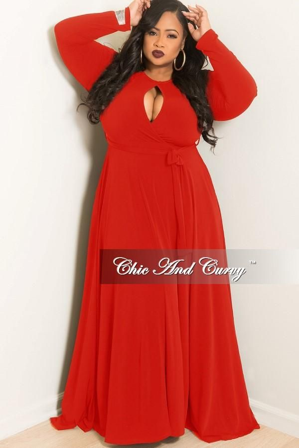 9b51f6653937fb Plus Size Long Dress with Attached Tie in Red – Chic And Curvy ...