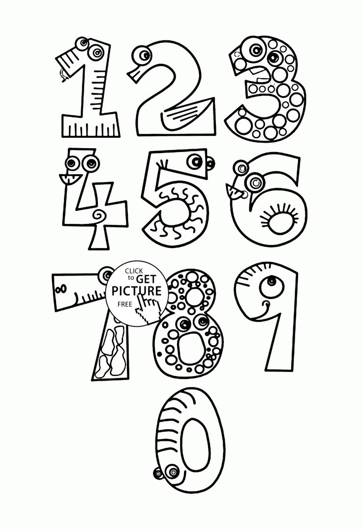 Monster Numbers coloring pages for kids, counting numbers