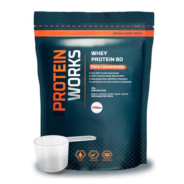 Whey Protein 80 - The Protein Works - Benefícios Chave - 78% teor proteico - Potencia a recuperação e aumento muscular. - Rica em BCAAs e Glutamina. - Teor baixo de hidratos e gordura. - Inclui o sistema enzimático Aminogen®.