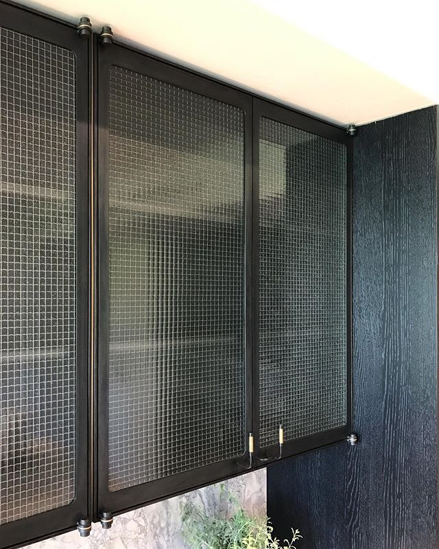 "Glass Infill Photo Gallery: ""Custom"" Kitchen Cabinets: Black Oxide Steel Frame, Obscured Wire Glass Infill, Bronze"