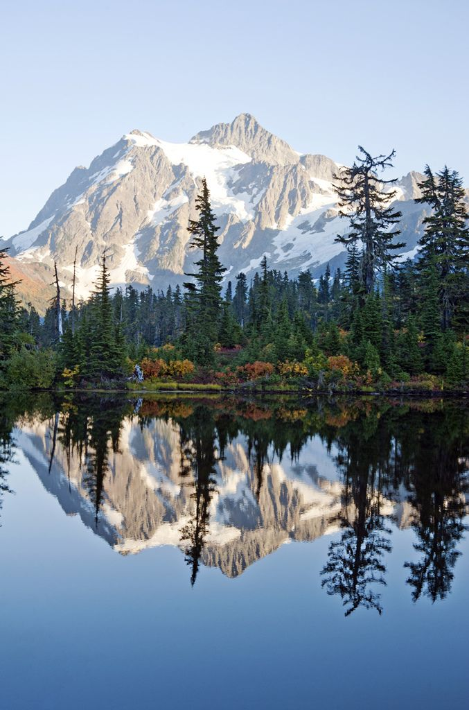 Mt. Shuksan reflected in Picture Lake in North Cascades National Park, Whatcom County Washington, USA (by MarleneFord)