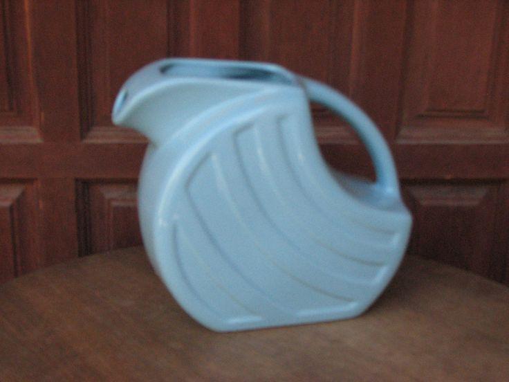 Vintage Alamo Pottery Light Blue Pitcher, Disk Pitcher, Refrigerator Pitcher, Midcentury Kitchen, Iced Tea Pitcher by AngelsVintageDreams on Etsy