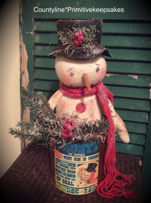 Primitive Snowman Doll In A Rusty Pail #NaivePrimitive