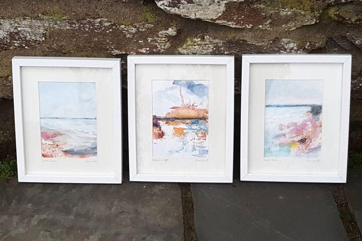 This Set of Irish Seascapes is the perfect Christmas gift for beach lovers and art lovers alike! 3 paintings: Into the Breeze Bathed in Light Across the Bay Each one measures approx. 5x7 and is mounted in a 8x10 white wooden frame. Painted with Acrylic/mixed media and touches of genuine gol