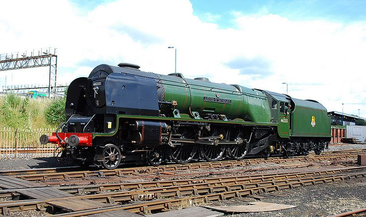 46233:LMS Stanier Class '7P' (BR Class '8P') or 'Coronation' 4-6-2 No.46233 'Duchess of Sutherland' (ex-LMS No.6233) in BR Brunswick Green livery and Stanier Mk.V 4,000 gll tender at Tyseley Locomotive Works 6 July 2014. Photo by Hugh Llewelyn