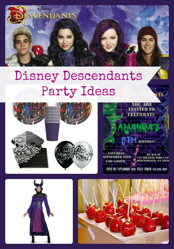 Disney Descendants Birthday Party Ideas and Supplies | Lots of Ideas and inspiration for decorations, invitations, cake, favors, games, food and more- Birthday Buzzin