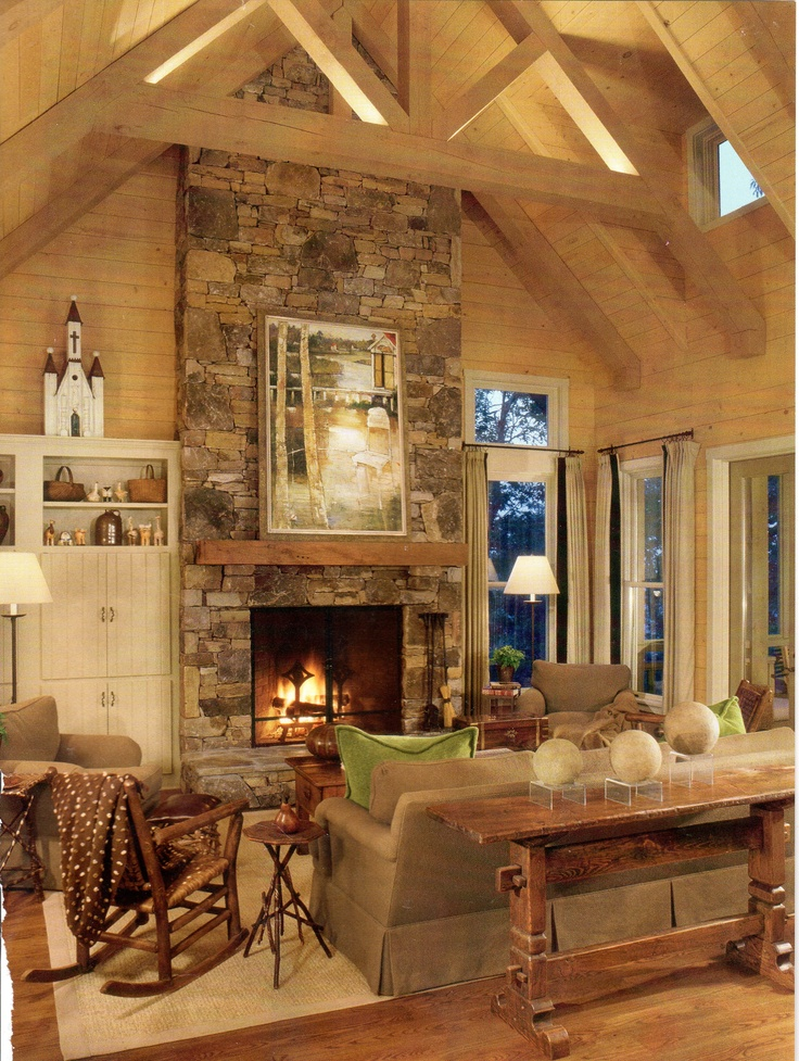 163 best rustic fireplace designs images on pinterest for Cabin fireplace pictures
