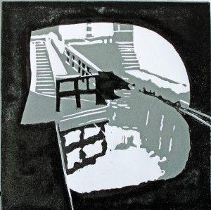 Farmer's Bridge Locks, 2014, 11cm x 11cm, relief print / Fiona Mill