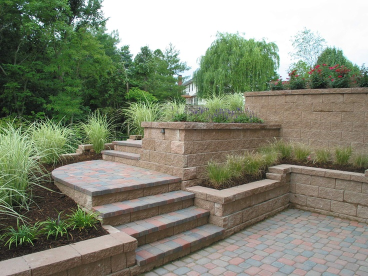 Brick patio design with wall planters yard beauty for Brick steps design ideas