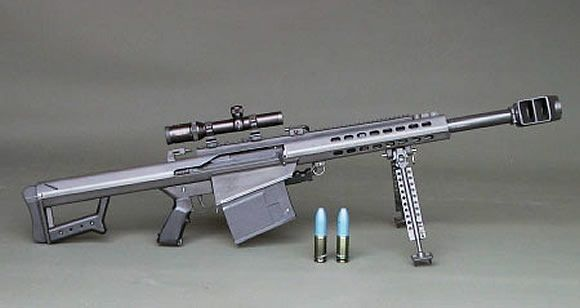 Barrett XM109. This bad boy is capable of taking out light armor from 2000m away by firing 25mm rounds. That's TWICE the size of the .50 cal used in the Barrett M82!