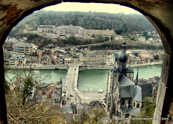 View of the River Meuse and Collegiate Church of Notre-Dame From Citadel Fort, Dinant Namur Belgium.