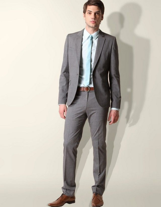 Suit Grey brown shoes bow tie