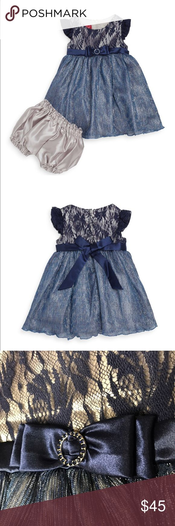 Princess Faith navy occasion dress This gorgeous dress features three layers of skirting including a row of tulle to puff it out!!  Navy with silvery threading and lace with champagne silver lining!  Perfect for photos with Santa or even the Easter Bunny, meaning it can be worn in any season!  0111111216 Princess Faith Dresses Formal