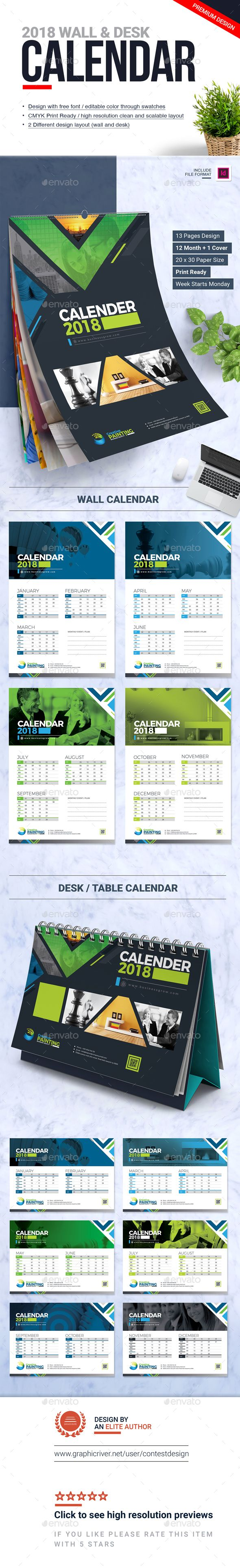 2018 Calendar Design Template InDesign INDD | Wall and Desk / Table Calendar 2018