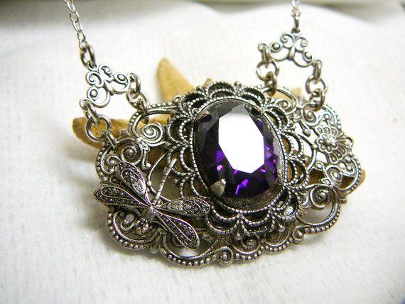 "Vintage style pendant ""Silver Garden""  brass, dichroic glass"