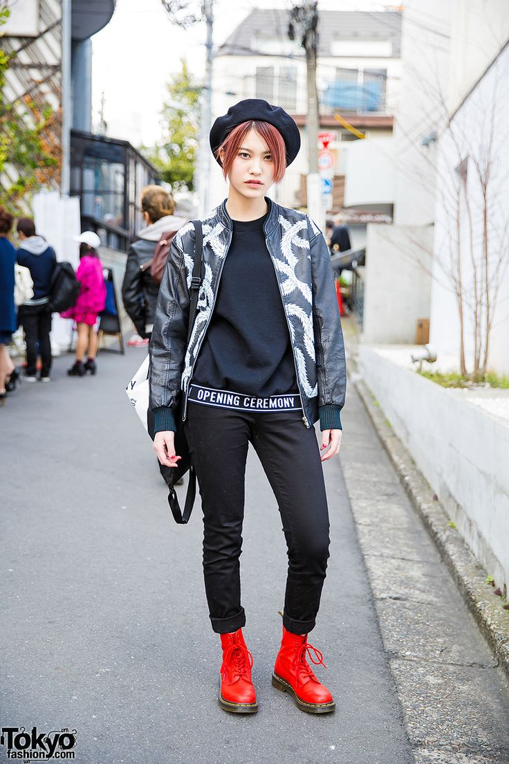 Harajuku Girl in Opening Ceremony Top, Hoyajuku Jacket & Red Dr. Martens Boots