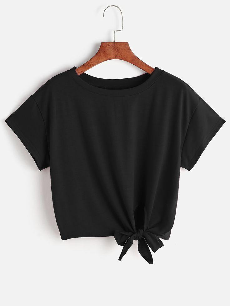 Shirt mit Front Knoten- German SheIn(Sheinside)