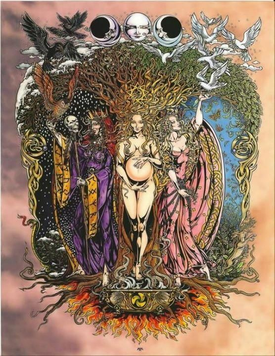 """Triple Goddess. The Moon Goddess Hecate. Greek Goddess of the Crossroads. Hecate was the only one of the Titans who Zeus allowed to retain authority after the Olympians had defeated them. She was given the position of being the guardian of the households and the protector of all that was newborn. Hecate was one of the three """"triple goddesses"""", sometimes illustrated as Persephone (young Maiden), Demeter (The Mother), and Hecate (the Crone)."""