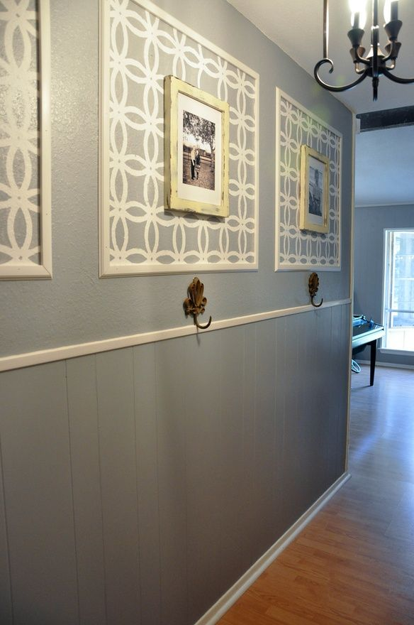 the moulding with wallpaper/stencil insert does a great job of decorating  the void on. Hallway IdeasHallway ...