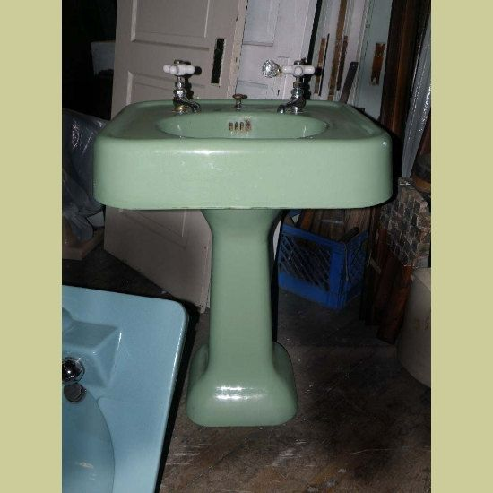 Vintage Pedestal Sink Green Cast Iron Porcelain Bath Room Vanity Jadeite Mint Antique 1930s In 2018 Childhood Memories Pinterest