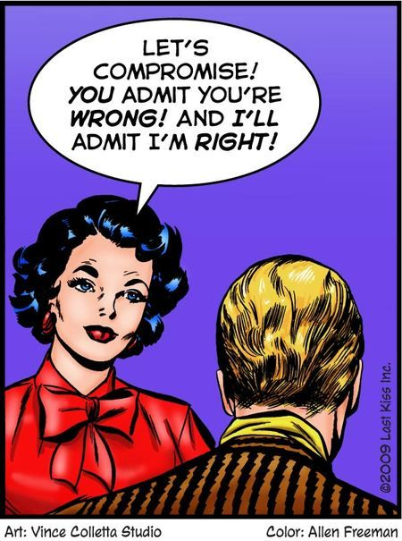 """Comic Girls Say.. """"Let's compromise ! You admit you're wrong ! And I'll admit I'm right ! """" #comic #popart"""