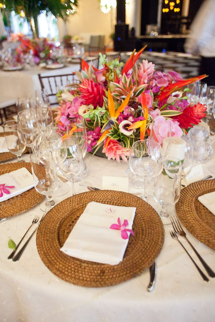 Filipino table setting - Bold Tropical Floral Reception Table Centerpiece