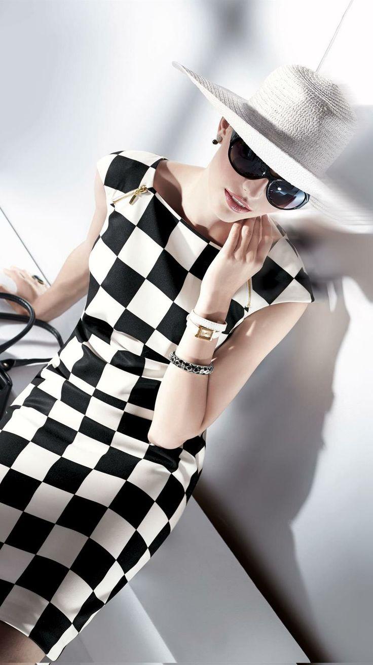 Black and white checkerboard fashion