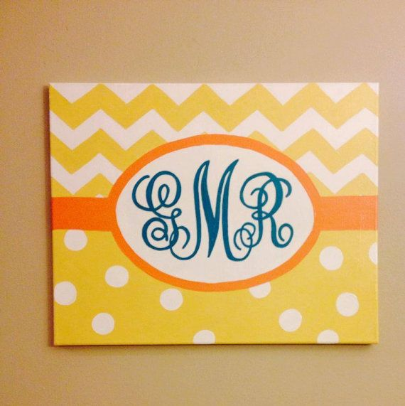 Hand painted monogram canvas  for nursery- can customize colors! on Etsy, $35.00